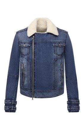 Мужская джинсовая куртка BALMAIN синего цвета, арт. WH1TD125/144D | Фото 1