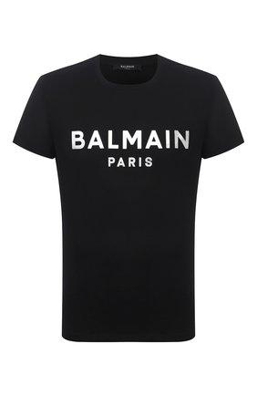Мужская хлопковая футболка BALMAIN черного цвета, арт. WH1EF000/B121   Фото 1