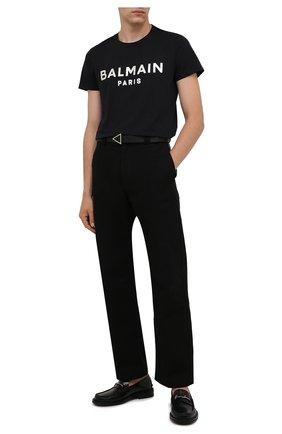 Мужская хлопковая футболка BALMAIN черного цвета, арт. WH1EF000/B121   Фото 2