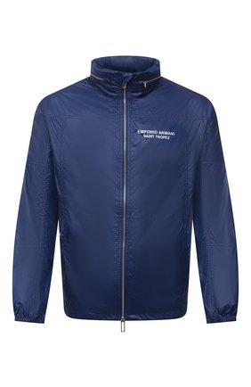 Мужская куртка EMPORIO ARMANI синего цвета, арт. 6K1B64/1NWNZ | Фото 1 (Длина (верхняя одежда): Короткие; Материал внешний: Синтетический материал; Рукава: Длинные; Кросс-КТ: Куртка, Ветровка; Стили: Спорт-шик)