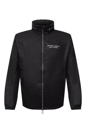 Мужская куртка EMPORIO ARMANI черного цвета, арт. 6K1B64/1NWNZ | Фото 1 (Рукава: Длинные; Материал внешний: Синтетический материал; Длина (верхняя одежда): Короткие; Кросс-КТ: Куртка, Ветровка; Стили: Спорт-шик)