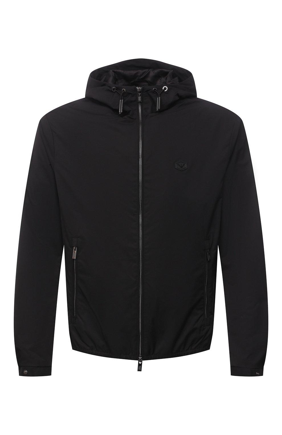 Мужская куртка EMPORIO ARMANI черного цвета, арт. 8N1BQ0/1NZQZ | Фото 1 (Кросс-КТ: Куртка, Ветровка; Рукава: Длинные; Материал внешний: Синтетический материал; Стили: Спорт-шик; Материал подклада: Синтетический материал; Длина (верхняя одежда): Короткие)