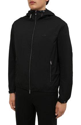 Мужская куртка EMPORIO ARMANI черного цвета, арт. 8N1BQ0/1NZQZ | Фото 3 (Кросс-КТ: Куртка, Ветровка; Рукава: Длинные; Материал внешний: Синтетический материал; Стили: Спорт-шик; Материал подклада: Синтетический материал; Длина (верхняя одежда): Короткие)