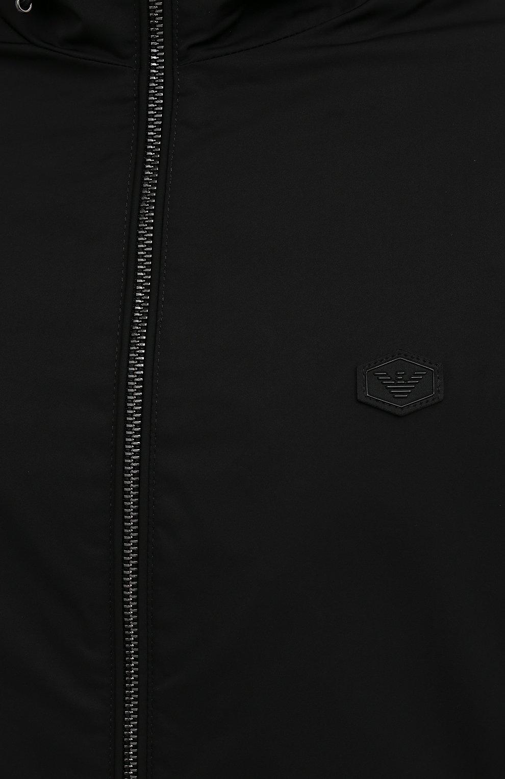 Мужская куртка EMPORIO ARMANI черного цвета, арт. 8N1BQ0/1NZQZ | Фото 5 (Кросс-КТ: Куртка, Ветровка; Рукава: Длинные; Материал внешний: Синтетический материал; Стили: Спорт-шик; Материал подклада: Синтетический материал; Длина (верхняя одежда): Короткие)