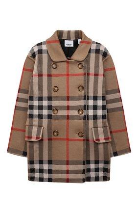 Детское пальто BURBERRY темно-бежевого цвета, арт. 8042959   Фото 1