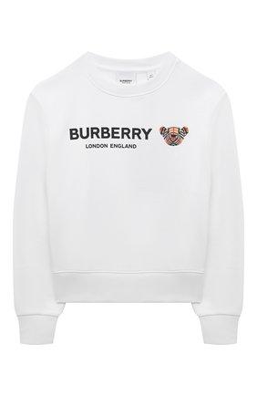 Детский хлопковый свитшот BURBERRY белого цвета, арт. 8042941 | Фото 1