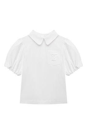 Детское хлопковая блузка BURBERRY белого цвета, арт. 8042927   Фото 1
