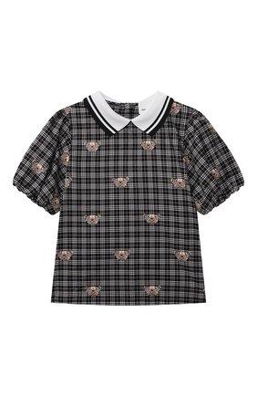 Детское хлопковая блузка BURBERRY черно-белого цвета, арт. 8040971   Фото 1