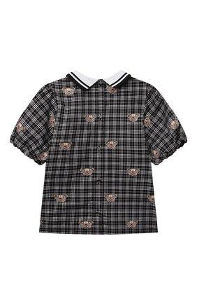Детское хлопковая блузка BURBERRY черно-белого цвета, арт. 8040971   Фото 2