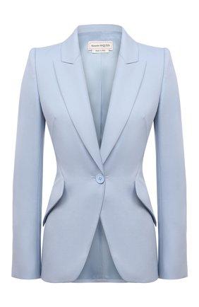 Женский шерстяной жакет ALEXANDER MCQUEEN светло-голубого цвета, арт. 585442/QJACB | Фото 1 (Материал внешний: Шерсть; Рукава: Длинные; Длина (для топов): Стандартные; Материал подклада: Купро; Случай: Повседневный; Женское Кросс-КТ: Жакет-одежда; 1-2-бортные: Однобортные; Стили: Гламурный)