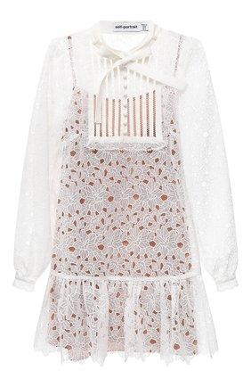 Женское платье SELF-PORTRAIT белого цвета, арт. PF21-104 | Фото 1