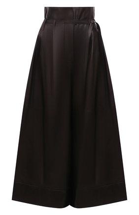 Женский кожаные кюлоты LOEWE темно-коричневого цвета, арт. S359Y54L04   Фото 1 (Материал подклада: Хлопок; Силуэт Ж (брюки и джинсы): Расклешенные; Стили: Гламурный; Длина (брюки, джинсы): Укороченные; Женское Кросс-КТ: Кюлоты-брюки)