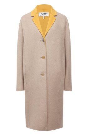 Женское пальто из шерсти и кашемира LOEWE бежевого цвета, арт. S359336XCS | Фото 1 (Материал внешний: Шерсть; Рукава: Длинные; Длина (верхняя одежда): До колена; 1-2-бортные: Однобортные; Стили: Гламурный)