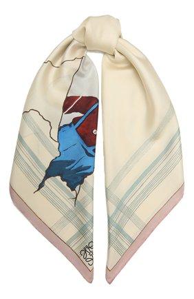 Женский шелковый платок LOEWE кремвого цвета, арт. F811911X05 | Фото 1