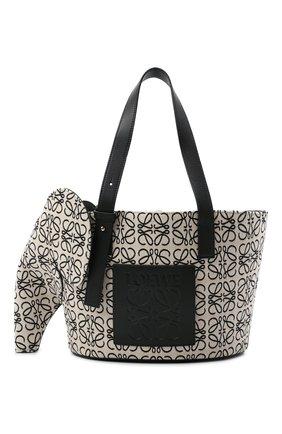 Женская сумка elephant LOEWE черно-белого цвета, арт. A546T21X05 | Фото 1 (Размер: small; Сумки-технические: Сумки top-handle; Ошибки технического описания: Нет ширины; Материал: Текстиль)