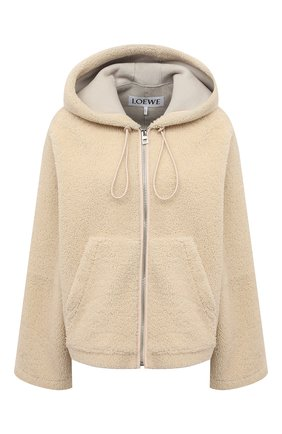 Женская меховая куртка LOEWE кремвого цвета, арт. S359330XBQ | Фото 1 (Материал внешний: Натуральный мех; Длина (верхняя одежда): Короткие; Рукава: Длинные; Стили: Спорт-шик; Кросс-КТ: Куртка; Женское Кросс-КТ: Мех)