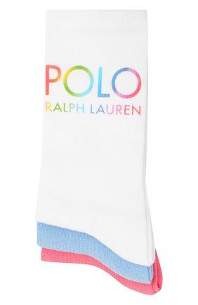 Женские комплект из трех пар носков POLO RALPH LAUREN разноцветного цвета, арт. 455843975 | Фото 1 (Стили: Кэжуэл; Материал внешний: Хлопок)