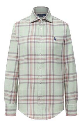 Женская хлопковая рубашка POLO RALPH LAUREN светло-зеленого цвета, арт. 211843389   Фото 1