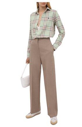 Женская хлопковая рубашка POLO RALPH LAUREN светло-зеленого цвета, арт. 211843389   Фото 2