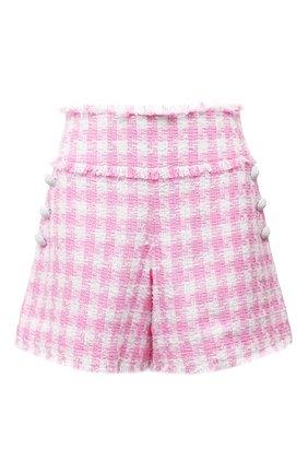 Женские хлопковые шорты BALMAIN светло-розового цвета, арт. WF1PA080/C307 | Фото 1 (Материал внешний: Хлопок; Материал подклада: Вискоза; Стили: Романтичный; Женское Кросс-КТ: Шорты-одежда; Длина Ж (юбки, платья, шорты): Мини)