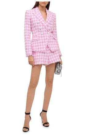 Женские хлопковые шорты BALMAIN светло-розового цвета, арт. WF1PA080/C307 | Фото 2 (Материал внешний: Хлопок; Материал подклада: Вискоза; Стили: Романтичный; Женское Кросс-КТ: Шорты-одежда; Длина Ж (юбки, платья, шорты): Мини)