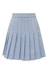 Женская джинсовая юбка BALMAIN голубого цвета, арт. WF1LB250/D132 | Фото 1 (Длина Ж (юбки, платья, шорты): Мини; Материал внешний: Синтетический материал, Хлопок; Стили: Романтичный; Женское Кросс-КТ: Юбка-одежда; Кросс-КТ: Деним)