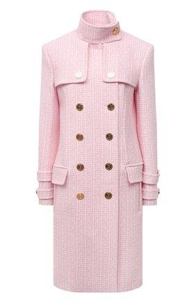 Женское шерстяное пальто BALMAIN светло-розового цвета, арт. WF1UC000/W134   Фото 1 (Материал подклада: Вискоза; Рукава: Длинные; Материал внешний: Шерсть; Длина (верхняя одежда): До колена; Стили: Романтичный; 1-2-бортные: Двубортные)