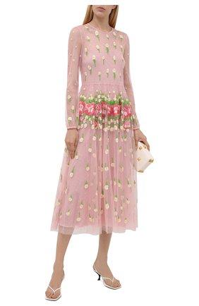 Женское платье REDVALENTINO светло-розового цвета, арт. WR3VA19J/635   Фото 2 (Материал внешний: Синтетический материал; Рукава: Длинные; Длина Ж (юбки, платья, шорты): Миди; Материал подклада: Синтетический материал; Стили: Романтичный; Женское Кросс-КТ: Платье-одежда; Случай: Вечерний)