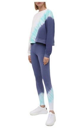 Женские хлопковые леггинсы ELECTRIC&ROSE синего цвета, арт. AWLG11-ECH0 | Фото 2 (Материал внешний: Хлопок; Стили: Спорт-шик; Длина (брюки, джинсы): Стандартные; Женское Кросс-КТ: Леггинсы-спорт)