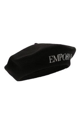 Женский шерстяной берет EMPORIO ARMANI черного цвета, арт. 637525/1A502   Фото 1