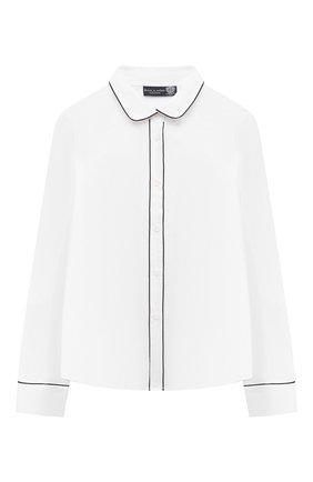 Детское хлопковая блузка DAL LAGO белого цвета, арт. R496/7628/13-16   Фото 1