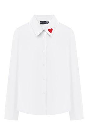 Детское хлопковая блузка DAL LAGO белого цвета, арт. R402/7537/7-12   Фото 1