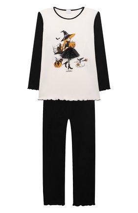 Детская хлопковая пижама LA PERLA черно-белого цвета, арт. 55951/8A-14A   Фото 1