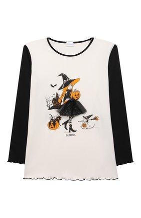Детская хлопковая пижама LA PERLA черно-белого цвета, арт. 55951/8A-14A   Фото 2