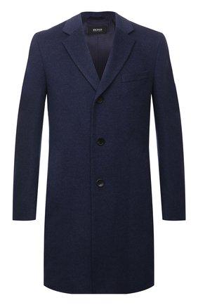 Мужской пальто из шерсти и кашемира BOSS синего цвета, арт. 50458989 | Фото 1
