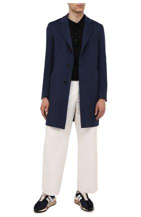 Мужской пальто из шерсти и кашемира BOSS синего цвета, арт. 50458989 | Фото 2