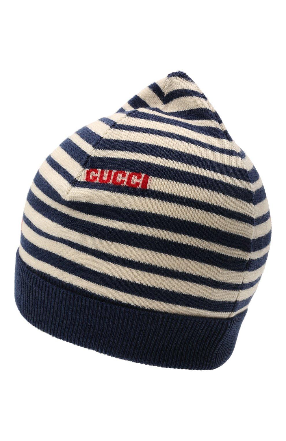 Детского шерстяная шапка GUCCI синего цвета, арт. 660617/4K206   Фото 2 (Материал: Шерсть)