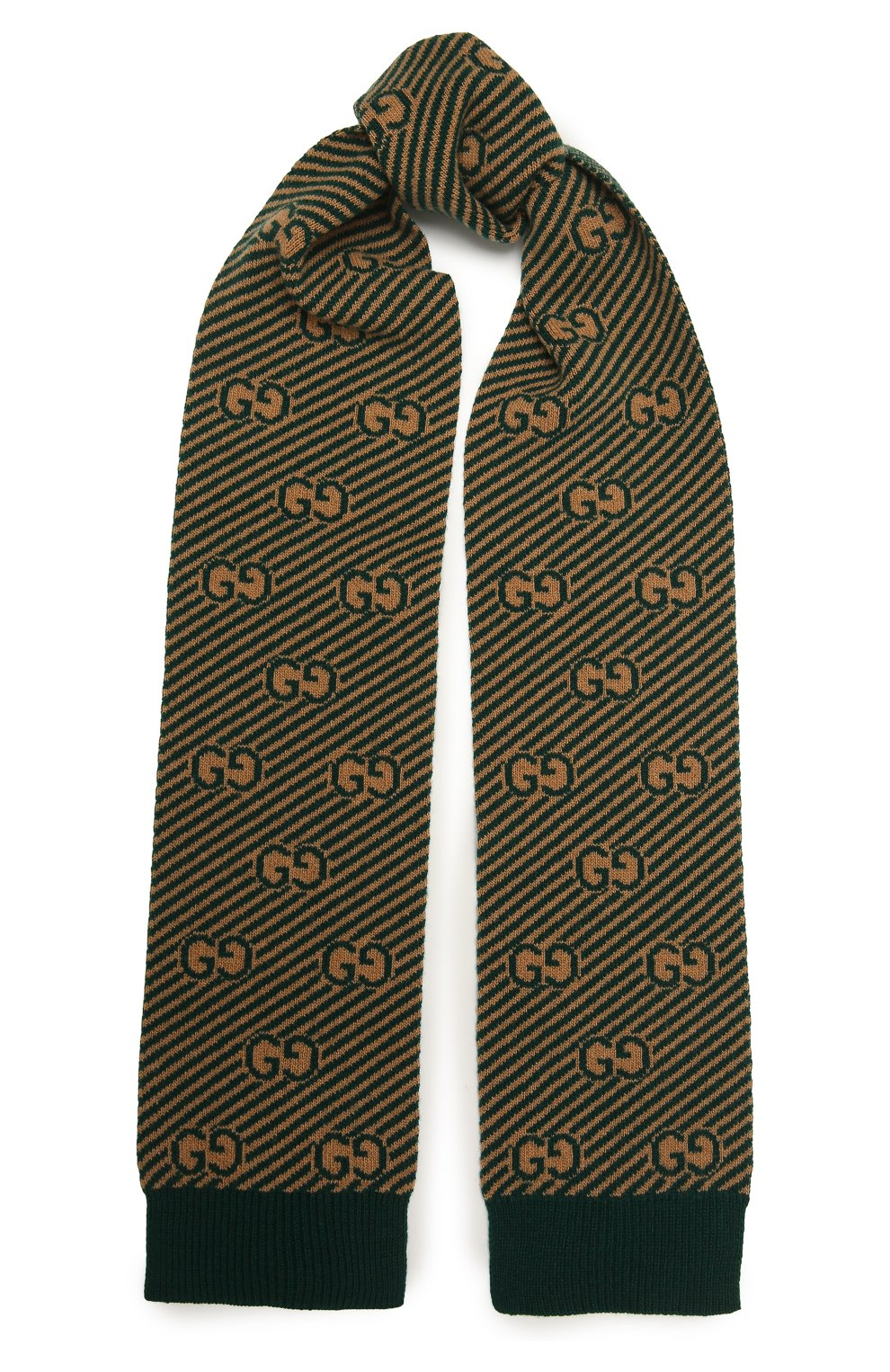 Детский шерстяной шарф GUCCI зеленого цвета, арт. 653906/4K206 | Фото 1 (Материал: Шерсть)