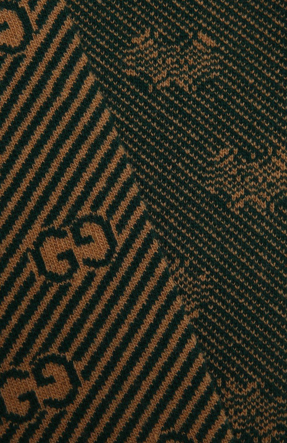 Детский шерстяной шарф GUCCI зеленого цвета, арт. 653906/4K206 | Фото 2 (Материал: Шерсть)