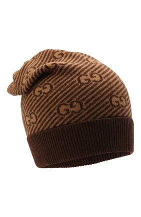 Детского шерстяная шапка GUCCI коричневого цвета, арт. 645515/4K206 | Фото 1