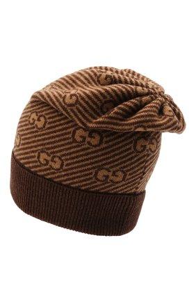Детского шерстяная шапка GUCCI коричневого цвета, арт. 645515/4K206 | Фото 2