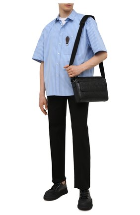 Мужская кожаная сумка gg GUCCI черного цвета, арт. 658565/1W3CN | Фото 2