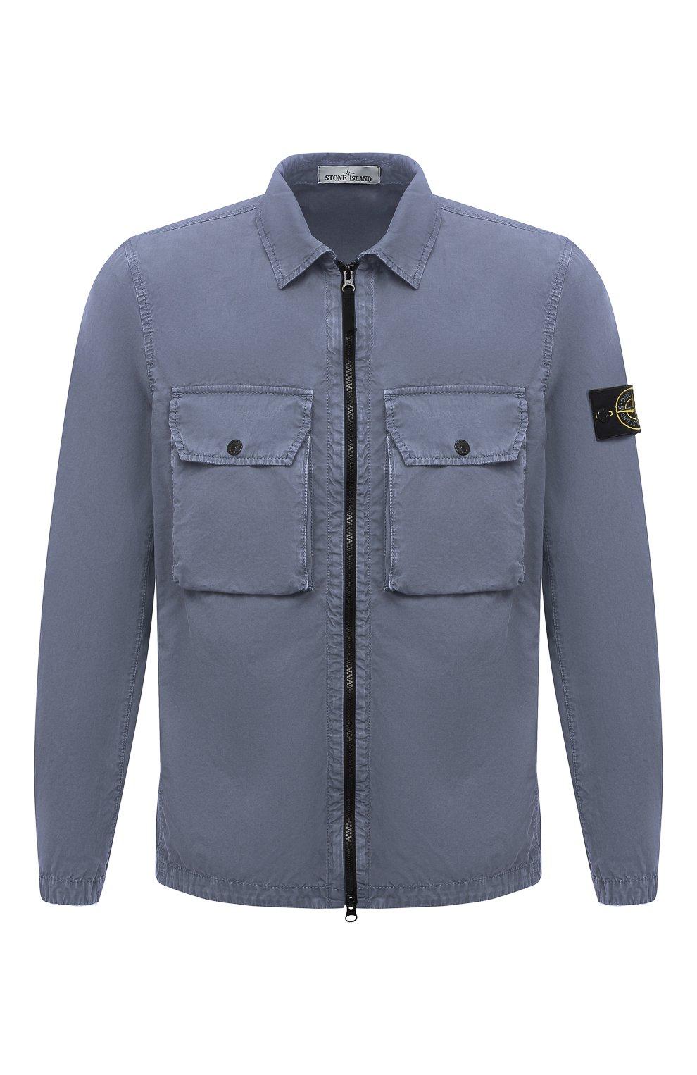 Мужская хлопковая куртка STONE ISLAND синего цвета, арт. 7515113WN | Фото 1 (Кросс-КТ: Куртка, Ветровка; Рукава: Длинные; Материал внешний: Хлопок; Длина (верхняя одежда): Короткие; Стили: Кэжуэл)