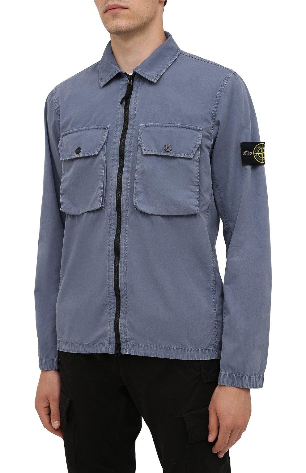Мужская хлопковая куртка STONE ISLAND синего цвета, арт. 7515113WN | Фото 3 (Кросс-КТ: Куртка, Ветровка; Рукава: Длинные; Материал внешний: Хлопок; Длина (верхняя одежда): Короткие; Стили: Кэжуэл)