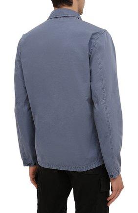 Мужская хлопковая куртка STONE ISLAND синего цвета, арт. 7515113WN | Фото 4 (Кросс-КТ: Куртка, Ветровка; Рукава: Длинные; Материал внешний: Хлопок; Длина (верхняя одежда): Короткие; Стили: Кэжуэл)