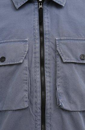 Мужская хлопковая куртка STONE ISLAND синего цвета, арт. 7515113WN | Фото 5 (Кросс-КТ: Куртка, Ветровка; Рукава: Длинные; Материал внешний: Хлопок; Длина (верхняя одежда): Короткие; Стили: Кэжуэл)