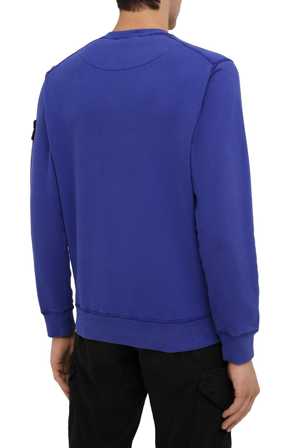 Мужской хлопковый свитшот STONE ISLAND синего цвета, арт. 751563020   Фото 4 (Рукава: Длинные; Принт: Без принта; Длина (для топов): Стандартные; Мужское Кросс-КТ: свитшот-одежда; Материал внешний: Хлопок; Стили: Кэжуэл)
