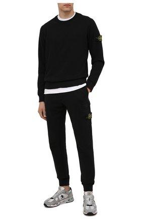 Мужской хлопковый свитшот STONE ISLAND черного цвета, арт. 751563020 | Фото 2