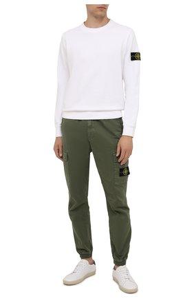 Мужской хлопковый свитшот STONE ISLAND белого цвета, арт. 751563020 | Фото 2