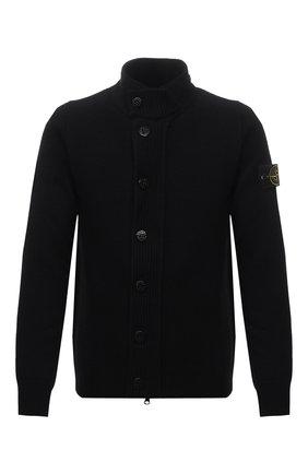 Мужской шерстяной кардиган STONE ISLAND черного цвета, арт. 7515547A3 | Фото 1